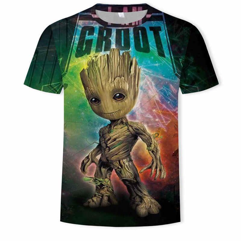 Super-herói filme guardião da galáxia camiseta verão quente-venda nova impressão casais 3d groot bebê flowerpot groot camiseta topos & t