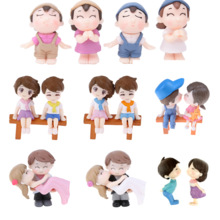 Mini Figures Couple Grandpa Fairy Home-Decoration Ornament Chair Lovers for 2pcs Sweety