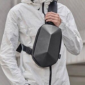 Image 3 - Youpin TAJEZZO Polyhedron PU sırt çantası moda Crossbody çanta su geçirmez eğlence spor göğüs paketi çanta erkek seyahat kamp