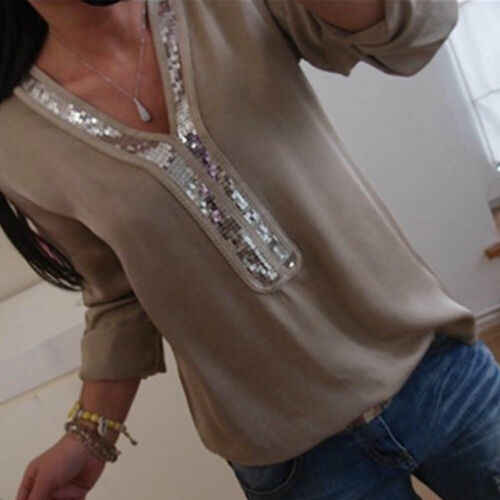 Hot Plus Size Vrouwen Boho Top Chiffon Solid Shirt V-hals Korte Mouw Zomer Casual Losse Tops Blouse