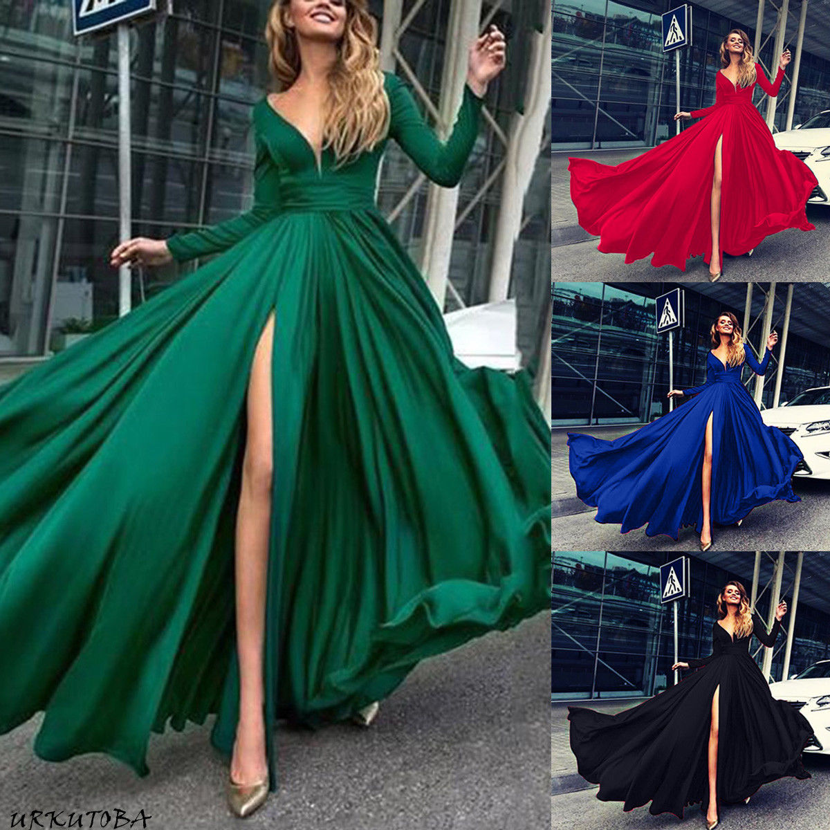 Ladies Solid V-Neck Party Beach Dresses Women Autumn Sexy Long Sleeve Long Split Dress