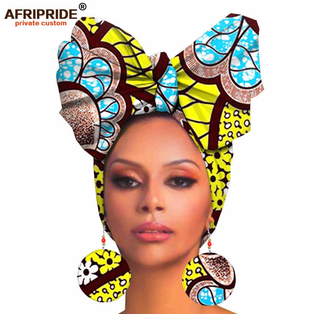 Afrika headwraps ve küpe kadınlar için afrika başörtüsü ankara geleneksel headtie eşarp türban baskı balmumu AFRIPRIDE A19H008