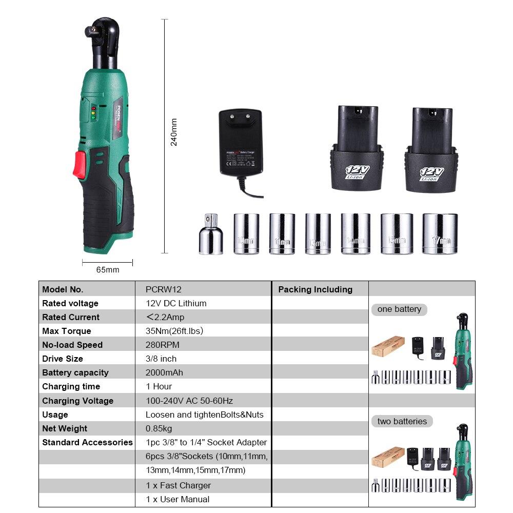 Ion Li POSENPRO Ratchet  Electric Cordless M 280RPM  3 Wrench Cordless 35 Batteries 12V Kit 8inch Wrench 0Ah N  2