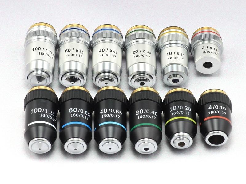 Biological Microscopes Lens 4X 10X 20X 40X 60X 100X(oil) 195 Achromatic Objective Lens