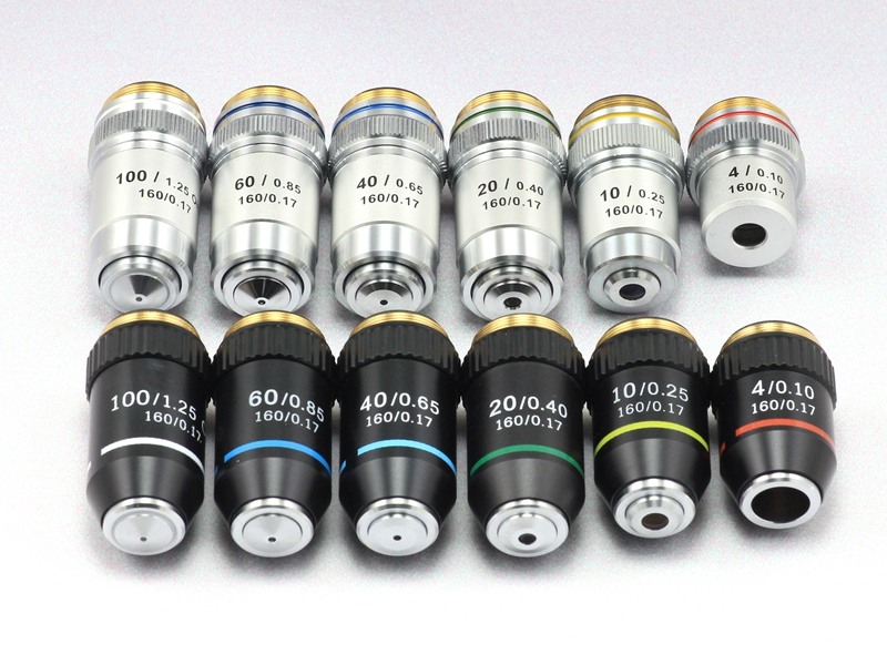 Biologische Mikroskope Objektiv 4X 10X 20X 40X 60X 100X (öl) 195 Achromatische Objektiv