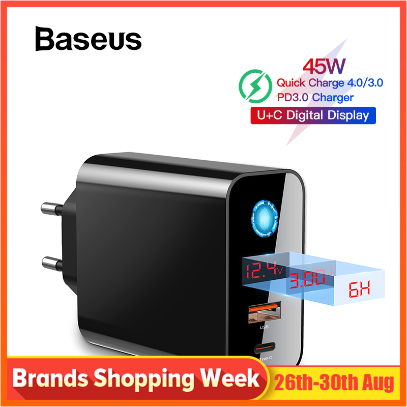 Baseus Digital Display Quick Charge 4.0 3.0 USB Charger Smart Power-Off QC 4.0 3.0 Quick Charger PD 3.0 Fast Charger for iPhone
