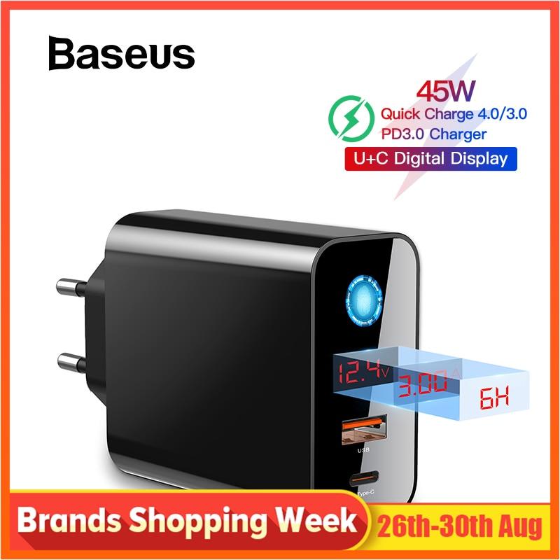 Baseus Display Digital de Carga Rápida 4.0 3.0 Carregador USB Smart Power-Off QC 4.0 3.0 Carregador Rápido PD 3.0 carregador rápido para iPhone