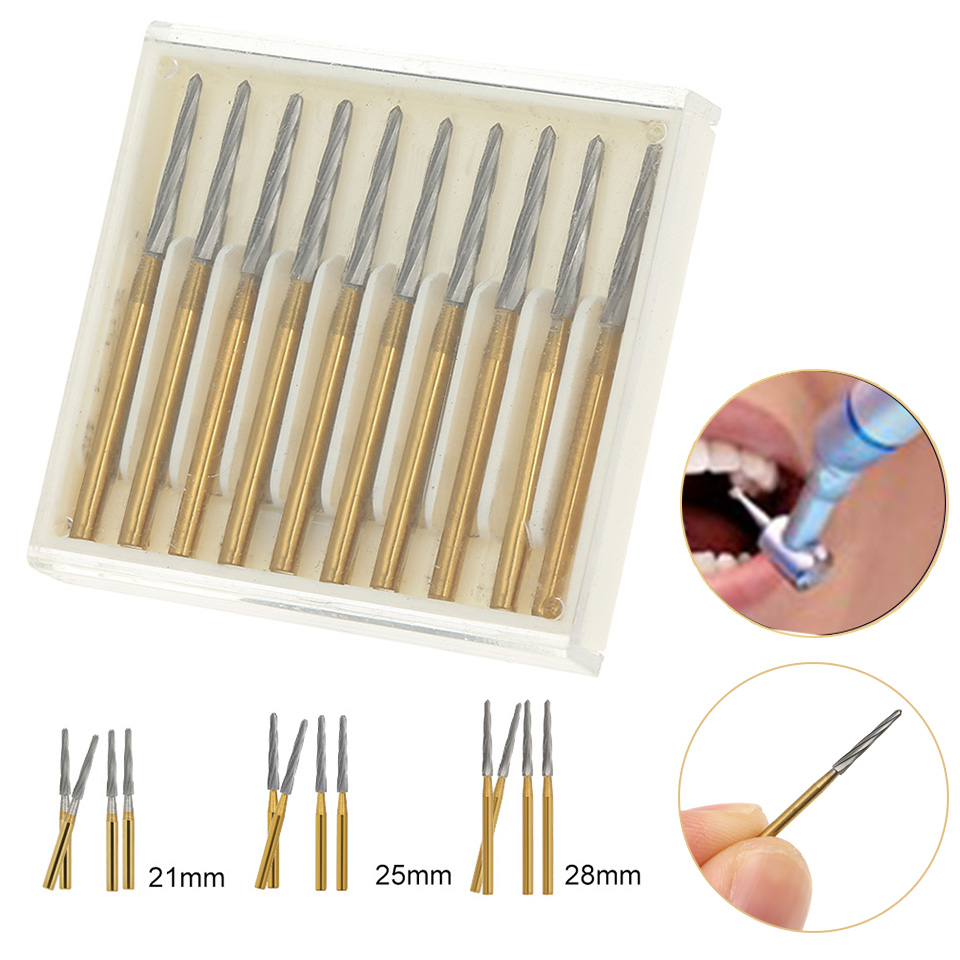 10Pcs Dental Endo Z Burs Lab Drill Carbide Tungsten Steel Trim Finishing High Speed FG 21mm/25mm/28mm Optional