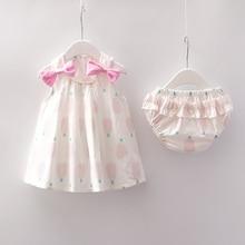 Baby Girls Clothes Set Sleeveless Dress+Briefs 0-24M