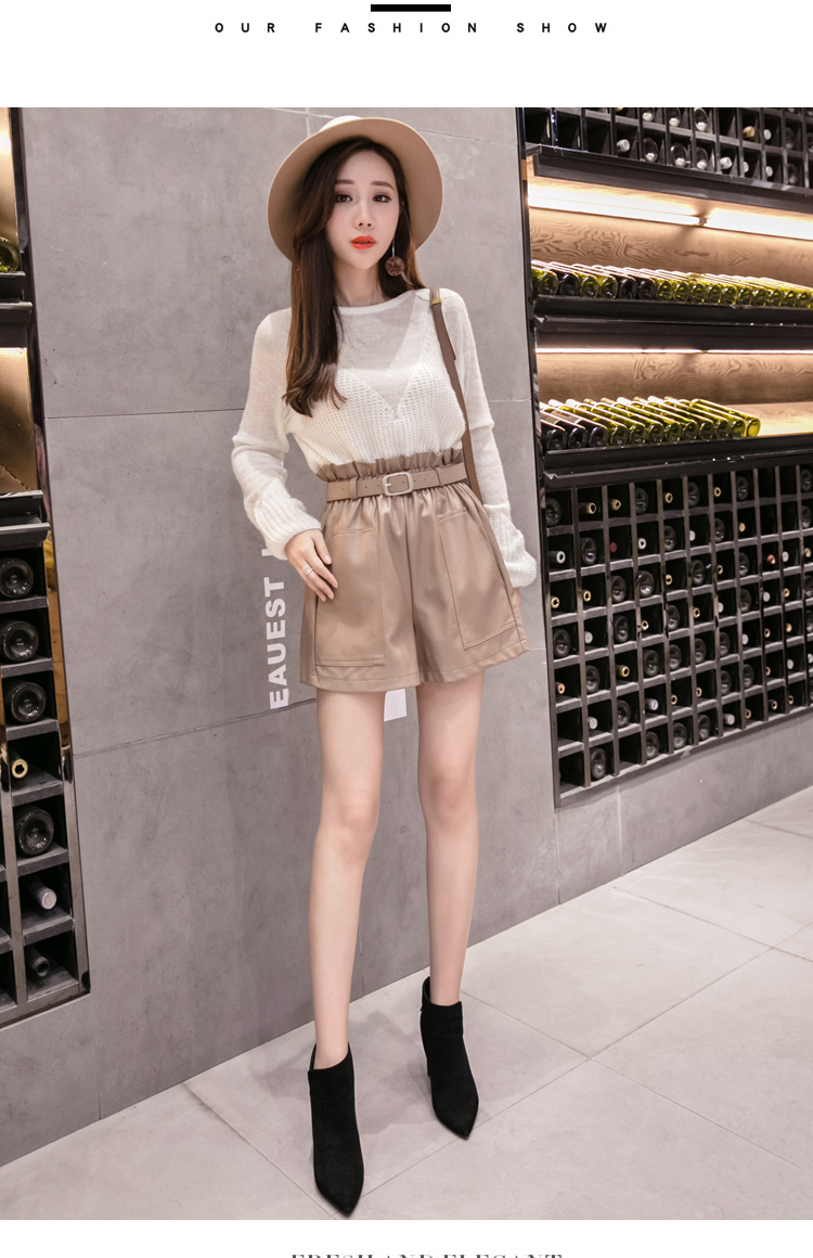 Elegant Leather Shorts Fashion High Waist Shorts Girls A-line Bottoms Wide-legged Shorts Autumn Winter Women 6312 50 91