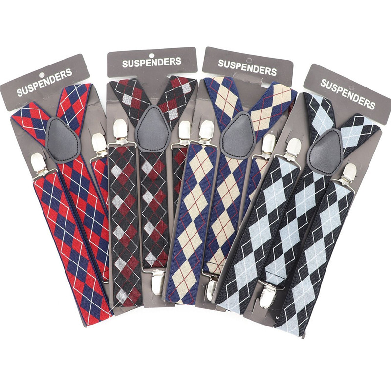 New England Plaid Elasticity Suspender British Style Non-slip Suspender Belt 3 Clips Shirt Stay Men Suspenders Shirt Belt