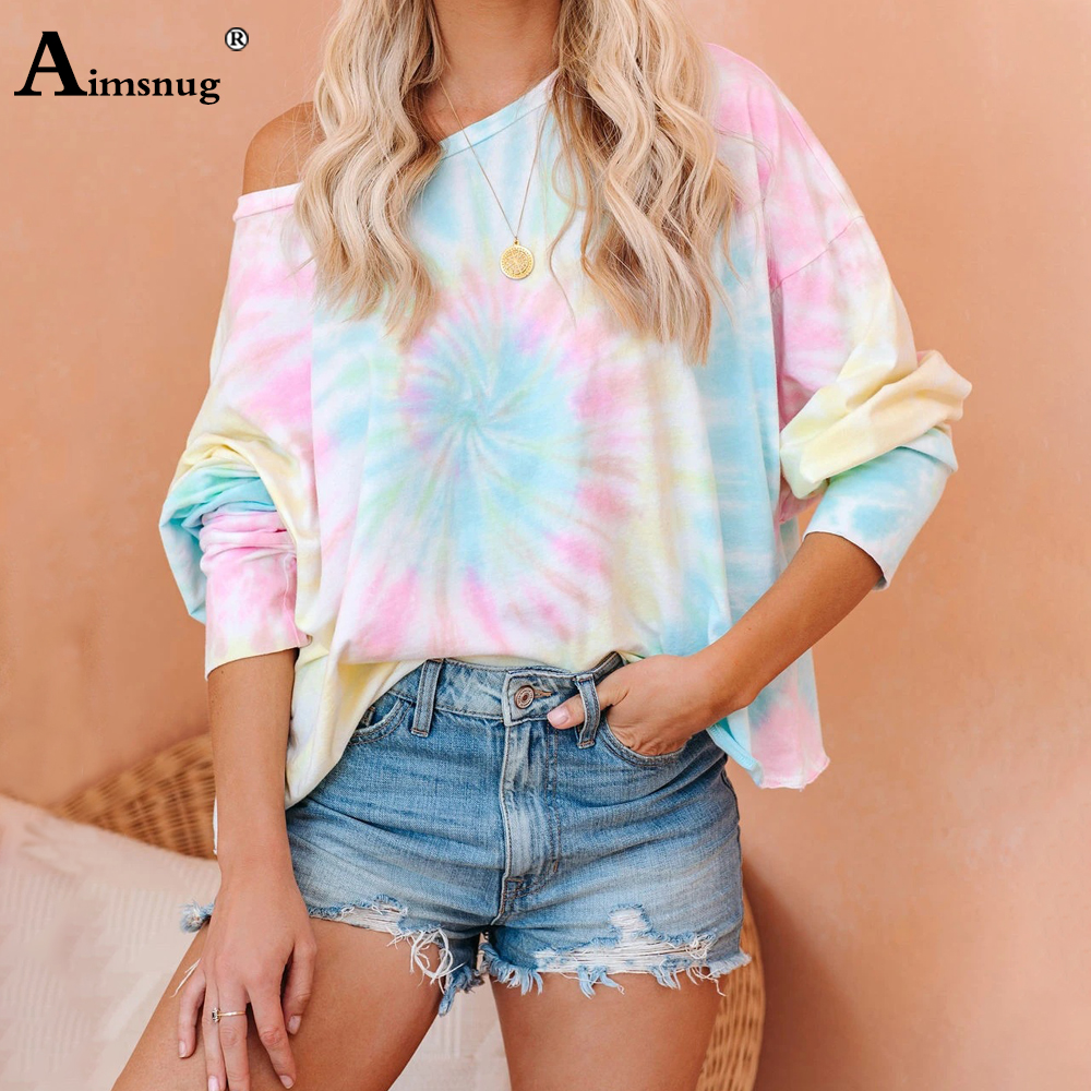 2020 Summer Women Elegant Leisure Casual Top Ladies Long Sleeve Tie-dye Printed Tee Shirt Plus Size 3xl Retro Girl Loose T-shirt