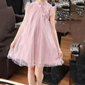 2021 Sweet Pink Solid Princess Dress Summer Girl Solid Color Mesh Lace Clothing Childrens Clothes Baby Girls Dress Casual Wear