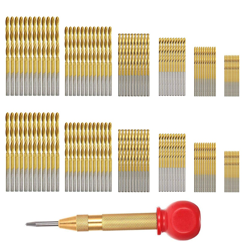 WSFS Hot 120 Pcs Twist Drill Set, High Speed Steel Mini Drill Bit And 1 Pcs Automatic Punch, Electric Hand Drill Tool Twist Dril