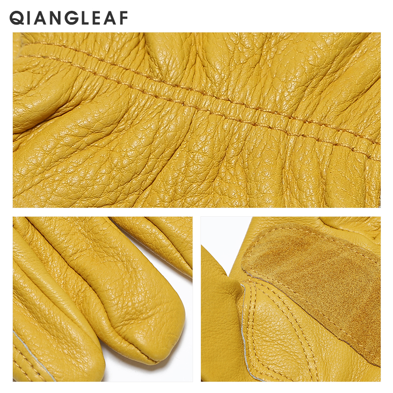 Image 5 - QIANGLEAF Brand New Men's Work Gloves Cowhide GlovesLeather Security Protection Wear Men Safety Driver Working Welding Glove H93-in Safety Gloves from Security & Protection