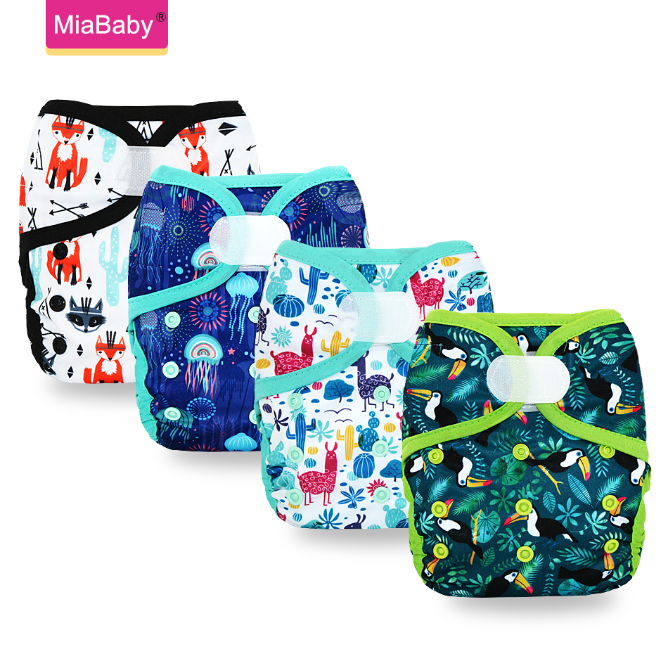 Miababy 1pc One Size Baby Cloth Diaper Cover Washable Baby Nappies Waterproof And Breathable Cloth Nappies Fit3-15kg Baby