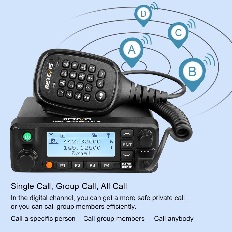 Retevis RT90 DMR Digital Mobile Radio Two-way Car Radio Walkie Talkie 50W VHF UHF Dual Band Ham Amateur Radio Transceiver +Cable
