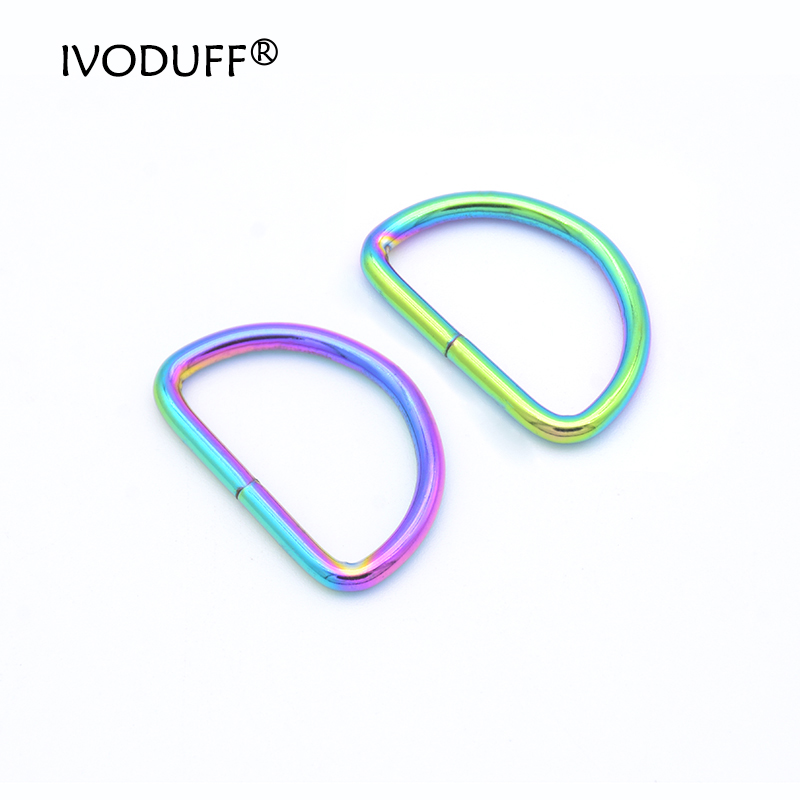 10x 50x 20mm 32mm  Rainbow D Ring Belt Buckle,Zinc Alloy Hardware Metal 2.7mm Wire Dia For Bags D Ring