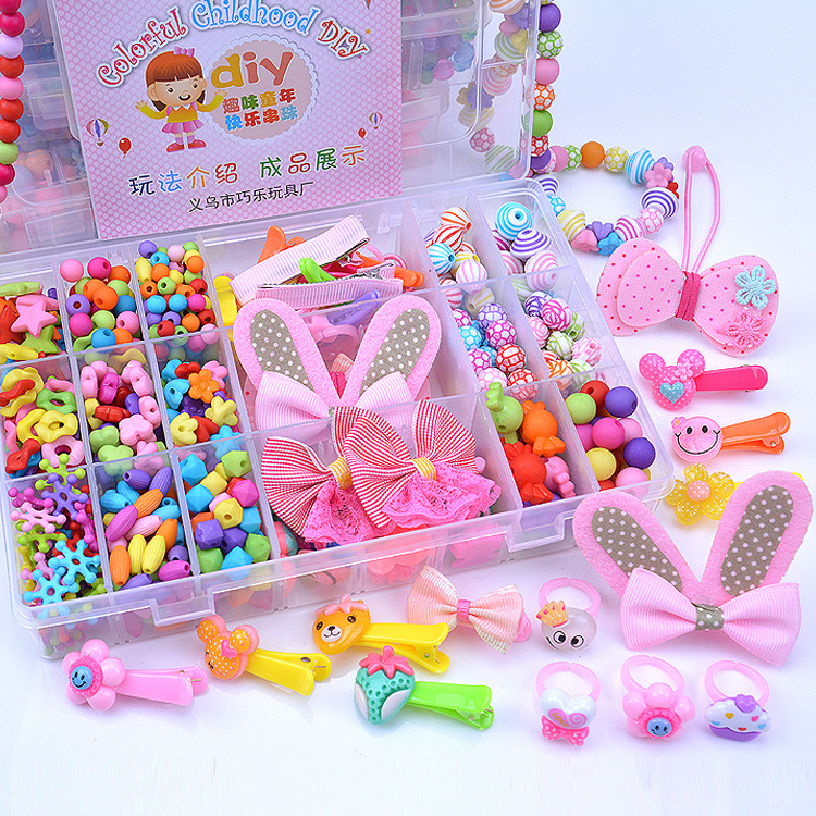 Diy Toys For Children Educational Baby Beaded Jewelry Box Girl Handmade Necklace Bracelet Hairpin Children Beads Kid Toys