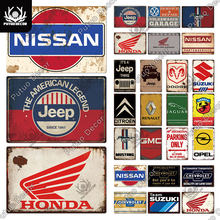 Putuo Decor Car Brand Vintage Metal Sign Tin Sign Decorative Plaque for Garage Gas Station Living Room Home Wall Decor