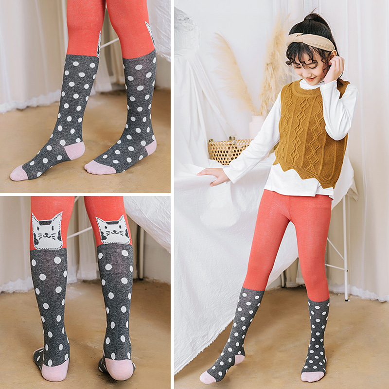 Girls Pantyhose Kids Tights Cartoon Cat Stockings Children Knitted Collant Cotton Cute Stocking Infant Soft Trousers