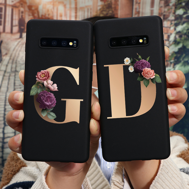 Alphabet Letter Flower Silicone TPU Case For Samsung Galaxy A21S A90 A70 A60 A40 A30 A10 A21 A71 For Samsung A50 Case Back Cover