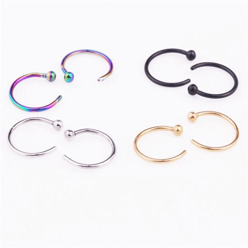 Unisex U Shaped Fake Nose Ring Hoop Septum Rings Stainless Steel Nose Piercing Fake Piercing Oreja Pircing Jewelry-4