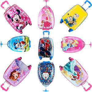 Kids Trolley Suitcase Rolling-Luggage On-Wheels Travel Cartoon 18inch 3D Toys-Box