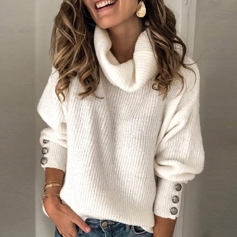 Autumn Winter Warm Sweater Women Casual Turtleneck Long Sleeve Pullovers Knitted Elegant Women Button Jumper Pull Female 5XL