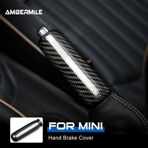 Image 1 - Ambermiles أغطية مقابض فرامل اليد الداخلية للسيارة ، ألياف الكربون لميني كوبر ، R55 ، Clubman R56 ، R57 ، R58 ، R59 ، R50 ، R53 ، الملحقات