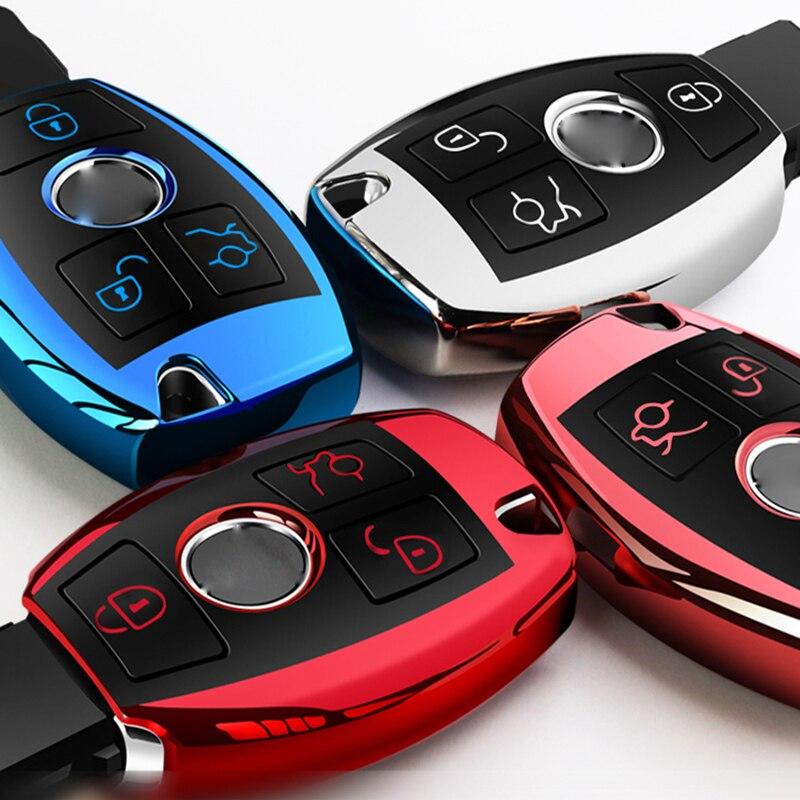 High Quality Chrome TPU Car Key Cover Key Bag Fit For Mercedes Benz A C E R M Class CLA GLA Key Shell Protector Key Case Chains