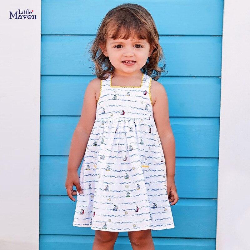 Little maven 2-7Years Summer white strapl Dress For Girl Princess Costume Children's Kids Toddler  Vestidos Elegant Frocks Dress 1