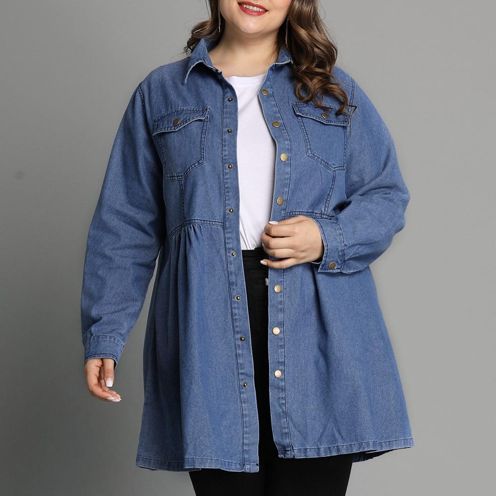 6XL Plus Size Long Sleeve Shirts Blouses Women Pocket Long Denim Blouse Casual Loose Ladies Tops Vintage Button Blusas Mujer D30