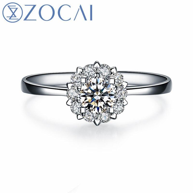 "ZOCAI Drown IN Love "" 18K White Gold (Au750) 0.8 Carat Diameter Effect "" 0.20 CT  Certified Diamond Engagement Ring W02967"