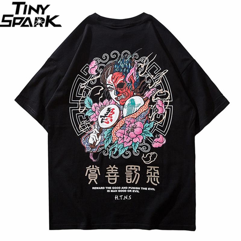 2019 T Shirt Streetwear Men Good And Evil Print Hip Hop T-Shirt Chinese Character Harajuku Tshirt Cotton Short Sleeve Tops Tees