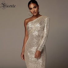VC Free Shipping Sexy One Shoulder Dress Sparkle Glitzy Sequins Dress Mesh Patchwork Celebrity Christmas Party Vestidos