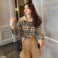 MISHOW 2020 Spring Plaid Blouses Women Casual Long Sleeve La