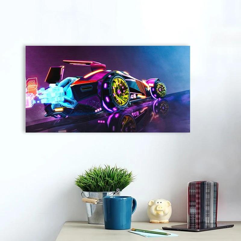 neon car rocket league vaporwave digital art poster canvas painting wall art decor bedroom study home decoration prints