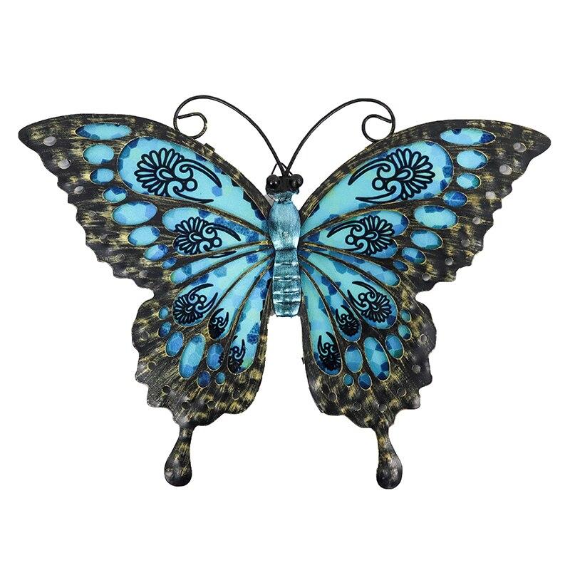 Сад Синий Бабочка из Стены Украшение для Дома и Сад Открытый Украшение Статуи Миниатюры Скульптуры
