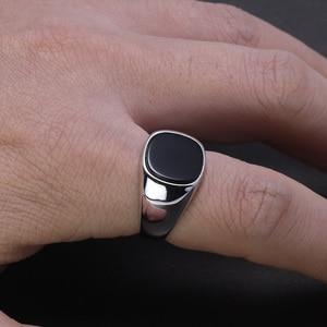 Image 5 - リアル純銀s925 メンズリングミニマリストトルコ男シンプルな指輪天然オニキス石トルコジュエリー