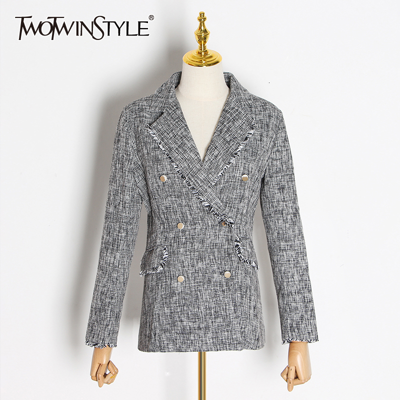 TWOTWINSTYLE Striped Patchwork Tassel Hit Color Blazers For Female Notched Collar Long Sleeve Autumn Suit Women Fashion 2020 New