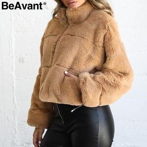 Image 3 - BeAvant Thick teddy faux fur winter coat women Casual autumn zipper soft female outwear coats Long sleeve streetwear lady jacket