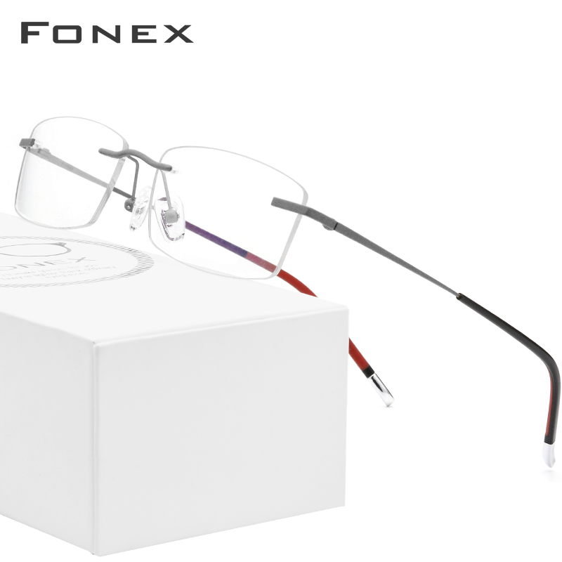 FONEX B Titanium Rimless Glasses Men Prescription Eyeglasses Frame Women Ultralight Myopia Optical Frameless Korean Eyewear 9608