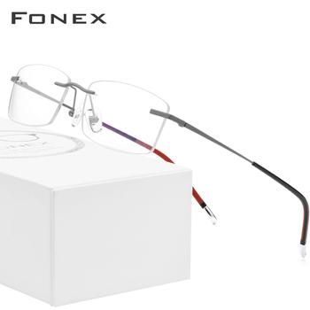 FONEX B tytanu okulary bez oprawek mężczyźni okulary korekcyjne ramki kobiety Ultralight krótkowzroczność optyczne bezramowe koreańskie okulary 9608 tanie i dobre opinie WOMEN Titanium Stałe 9608 IP Plating Square d squared clear transparent Ultra FRAMES Okulary akcesoria