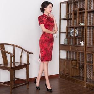 Image 4 - 2019 קינסאנךרה אמיתיות שיפוע דש, אמצע אורך, בכושר משופר Cheongsam, חצאית, שמלה סיטונאי, hongyun מפעל ישיר מכירות