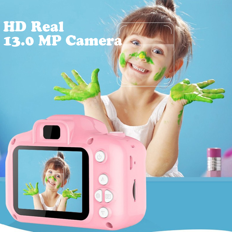 Mini Digital Kids Camera Toys 2 Inch HD Screen Chargable Photography Photo Props Cute Baby Child Toy Birthday Gift Outdoor Game