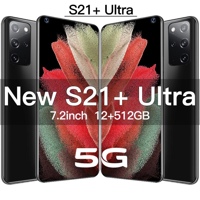 Горячая Распродажа Galay S21 + Ультра мобильные телефоны 12GB + 512GB HD дюйм андроид смартфон 16 + 32MP камера оригинальный телефон с двумя Sim-картами