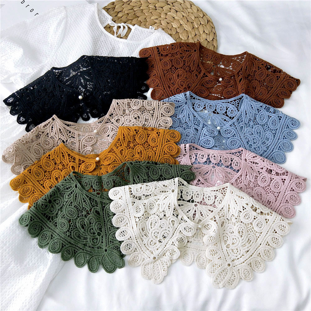 2021 25 Styles Fake Collars Shawl O-Neck Doll False Collar Shirt Women Hollow Crochet Lace Detachable Collar Half Shirt Faux Col