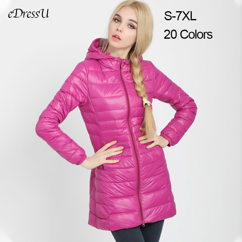 S-7XL Women Jacket Long   Down  -Jacket Hooded Outwear Plus Size Ultralight   Down  -  Coat   Autumn Winter Jacket Casual Warm   Coat   YD-12