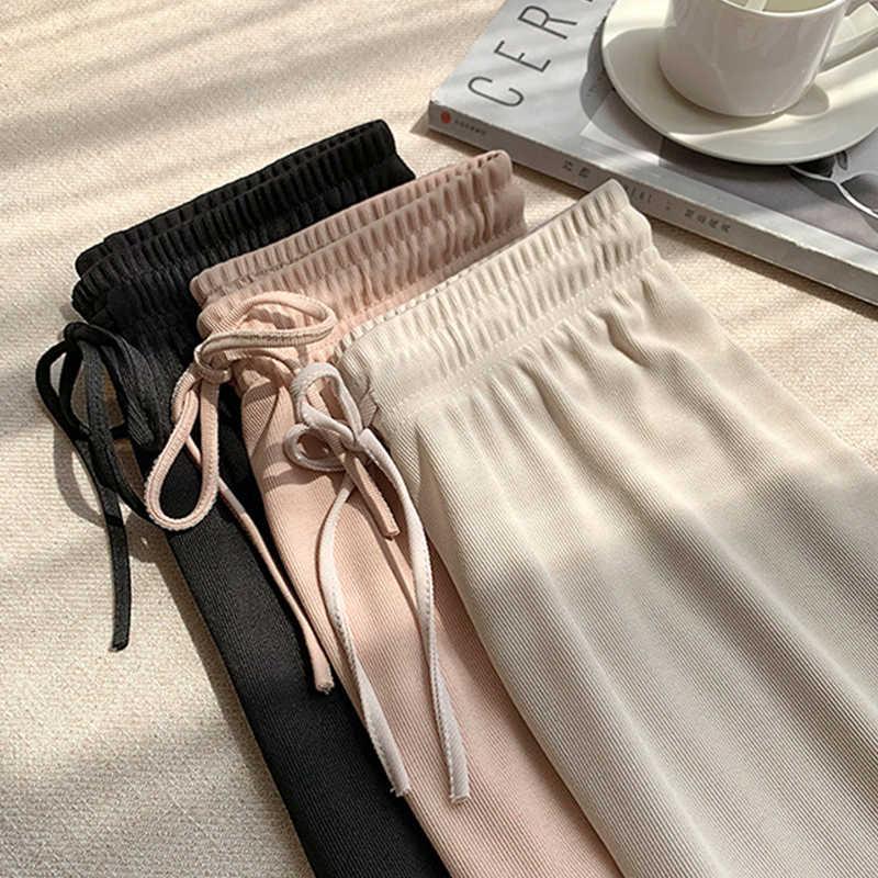 ソフトで快適女性パンツ2020新ハイウエストカジュアル夏スラックスパンツ女性アイスシルク足首丈長ズボン女性スラックス